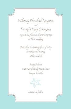 Seafoam blue starfish invitation