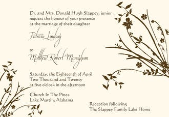 Brown branch invitation on IVORY