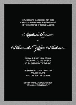 Brilliant Border on Black Foil-Pressed Invitation
