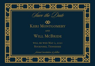Navy Art Deco Save The Date Magnet