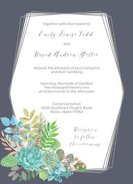 Bright Succulents Foil-Pressed Invitation