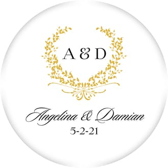 Gold Wreath Circle Gift Sticker