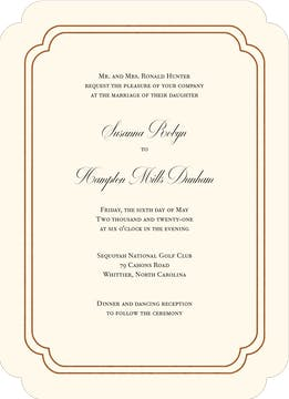 Shining Double Frame Foil-Pressed Invitation