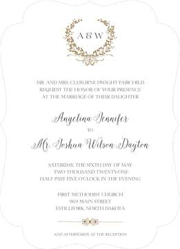 Gleaming Wreath Foil-Pressed Invitation