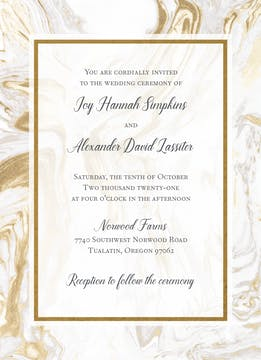 Lustrous Marble Foil-Pressed Invitation