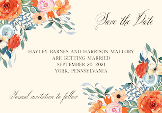 Fresh Floral Save the Date Postcard