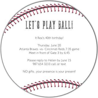 Baseball Round Invitation