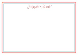 Simple Red and Seafoam Blue Bordered Flat Notecard
