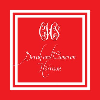Red and White Initial or Monogram Enclosure Card