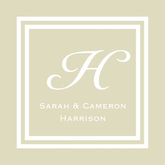 Taupe and White Initial or Monogram Enclosure Card