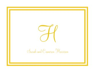 Gold and White Initial or Monogram Notecard