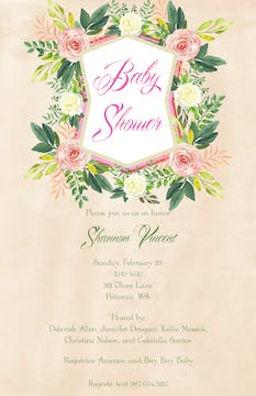 Crested Blooms Invitation