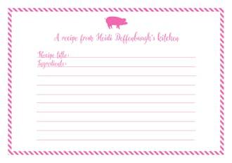 Pig Recipe Card