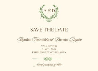 Green Wreath Save The Date Card