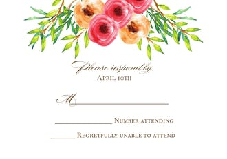 Watercolor Florals Reply Card