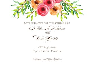 Watercolor Florals Save The Date Postcard