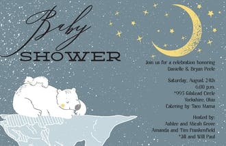 Twinkle Stars and Bears Baby Shower Invitation