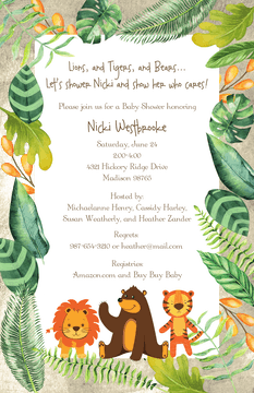 Lions, Tigers and Bears Invitation