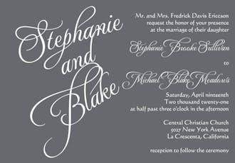 Grey Calligraphic Names Invitation