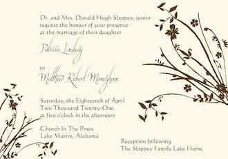 Brown branch invitation on IVORY