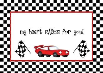 Racecar Valentine Cards
