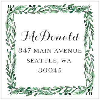 Square Icon Greenery Return Address Label