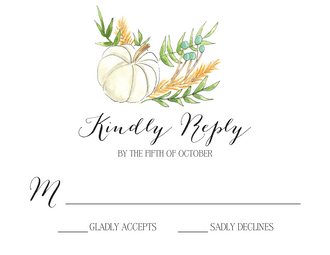 White Pumpkin and Wheat Reply Card