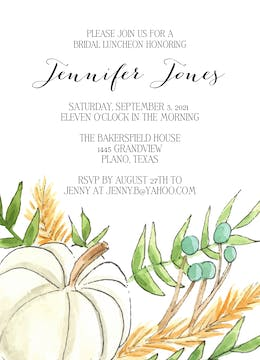 White Pumpkin and Wheat Invitation