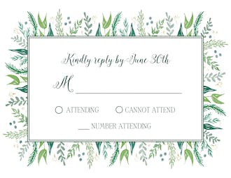 Watercolor Foliage Reply Card
