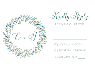 Blue and Green Floral Reply Card