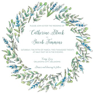 Blue and Green Floral Invitation