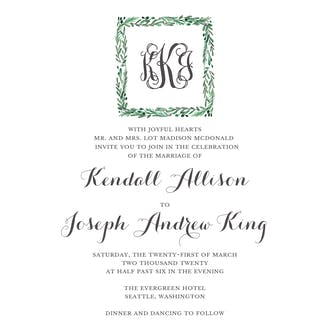 Square Icon Greenery Invitation