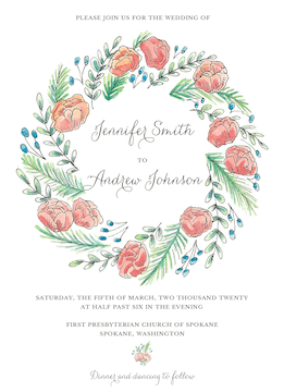 Peony Wreath Invitation