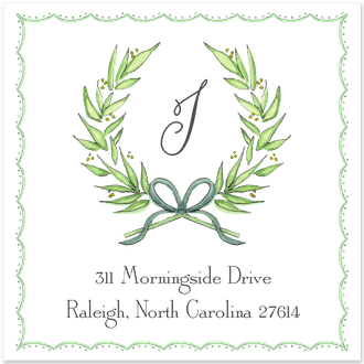 Delicate Border Wreath Return Address Label