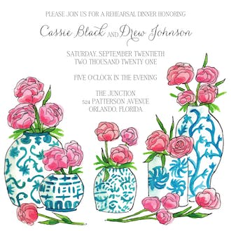 Blue China and Peony Invitation