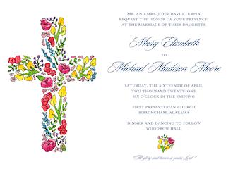 Floral Cross Invitation