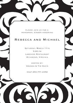 Bold Black Damask Invitation