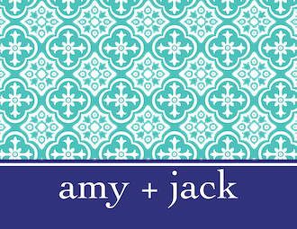 Turquoise and Navy Folded Note
