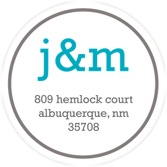 Turquoise and Gray Initial Label