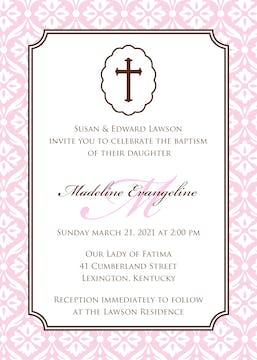 Baby Girl Baptism/Christening Invitation