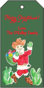 Cowboy Santa Hanging Gift Tag