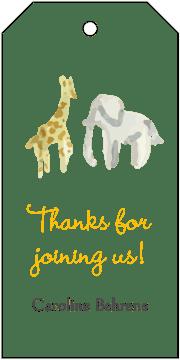 Yellow Safari Hanging Gift Tag