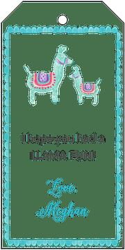 Blue Llamas Hanging Gift Tag
