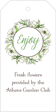 White Floral Wreath Hanging Gift Tag