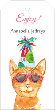 Party Cat Hanging Gift Tag