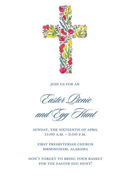 Floral Cross Invitation