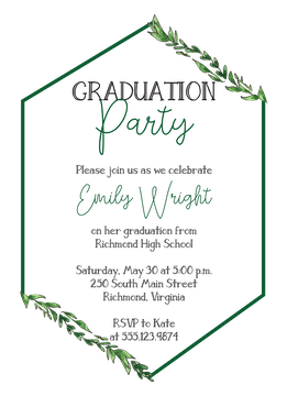 Greenery Hexagon Invitation