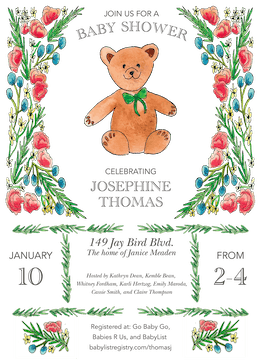 Floral Bear Invitation