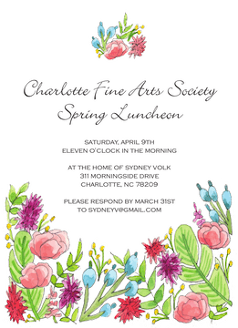 Colorful Spring Florals Invitaiton