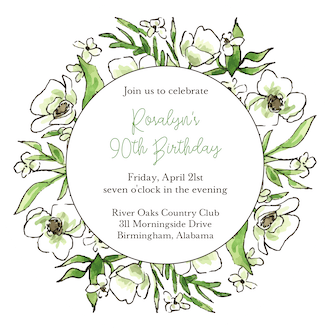 White Floral Wreath Round Invitation (Flower & Vine) Round Invitation